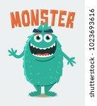 green hairy monster   Shutterstock .eps vector #1023693616