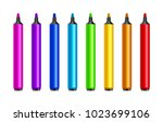 marker pens  red  green  yellow ... | Shutterstock .eps vector #1023699106