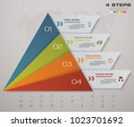 4 steps pyramid with free space ... | Shutterstock .eps vector #1023701692