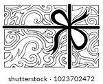 vintage silhouette of gift box... | Shutterstock . vector #1023702472