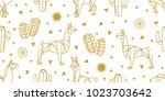 origami animals. seamless... | Shutterstock .eps vector #1023703642