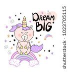 cute card with unicorn and hand ... | Shutterstock .eps vector #1023705115