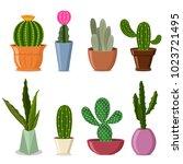 cactuses in pots set. vector... | Shutterstock .eps vector #1023721495