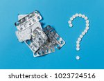 medication white round tablets... | Shutterstock . vector #1023724516