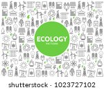 ecology line icons pattern | Shutterstock .eps vector #1023727102