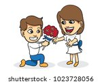 boy give flower to girlfriend... | Shutterstock .eps vector #1023728056