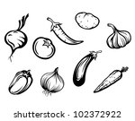 set of fresh vegetables... | Shutterstock .eps vector #102372922