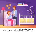 breastfeeding cartoon... | Shutterstock .eps vector #1023730996