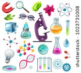 science decorative icons set... | Shutterstock .eps vector #1023731008