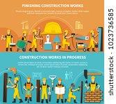 construction worker flyer set...   Shutterstock .eps vector #1023736585