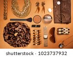 trendy woman accessories. brown ... | Shutterstock . vector #1023737932