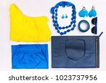 trendy woman accessories. blue... | Shutterstock . vector #1023737956