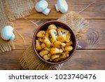 roasted mushrooms. homemade...   Shutterstock . vector #1023740476