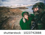 two photographers making selfie ... | Shutterstock . vector #1023742888