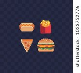 fast food pixel art icons set... | Shutterstock .eps vector #1023752776