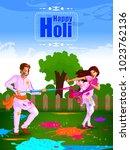 happy holi festival of colors... | Shutterstock .eps vector #1023762136