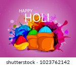 happy holi festival of colors... | Shutterstock .eps vector #1023762142