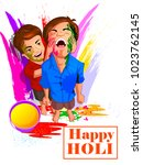 happy holi festival of colors... | Shutterstock .eps vector #1023762145