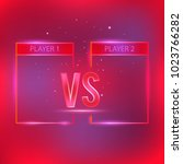 versus screen with red neon... | Shutterstock .eps vector #1023766282