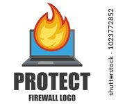 firewall logo. protection logo... | Shutterstock .eps vector #1023772852