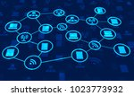 abstract network communication... | Shutterstock . vector #1023773932