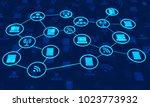 abstract network communication... | Shutterstock . vector #1023773932