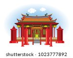 china temple is a building for... | Shutterstock .eps vector #1023777892
