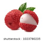Lychee With Leaves Isolated On...