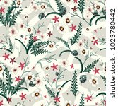 seamless pattern of flowers and ... | Shutterstock .eps vector #1023780442