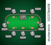 poker table with chairs and... | Shutterstock .eps vector #1023786658