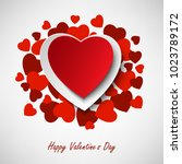 valentine greeting card with... | Shutterstock .eps vector #1023789172