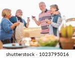 senior friends having fun... | Shutterstock . vector #1023795016