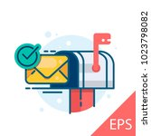 mail box with an envelope with... | Shutterstock .eps vector #1023798082