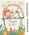 cute girl with easter rabbits... | Shutterstock .eps vector #1023799792