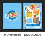2 pages kids menu design with... | Shutterstock .eps vector #1023802006