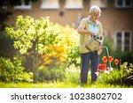 senior woman doing some... | Shutterstock . vector #1023802702