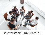 group of employees a lesson on... | Shutterstock . vector #1023809752