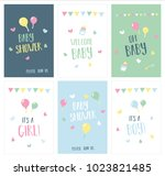 newborn baby shower and... | Shutterstock .eps vector #1023821485