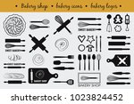 vector set with cooking elements   Shutterstock .eps vector #1023824452