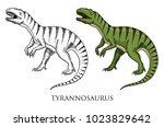 dinosaurs tyrannosaurus rex ... | Shutterstock .eps vector #1023829642