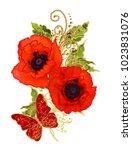 stylized golden shiny flowers... | Shutterstock . vector #1023831076