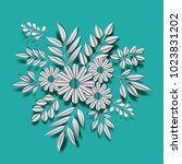 flower and leafs floral... | Shutterstock .eps vector #1023831202