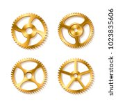 set of realistic golden gears... | Shutterstock . vector #1023835606