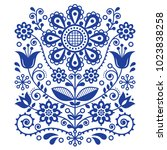 scandinavian vector folk art... | Shutterstock .eps vector #1023838258