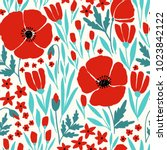 Seamless Pattern With Red Poppy ...