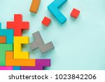 puzzle on boards team business... | Shutterstock . vector #1023842206