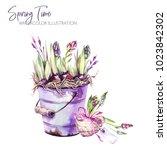 watercolor illustration. garden ... | Shutterstock . vector #1023842302