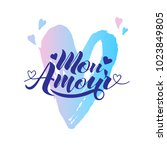 hand painted love card with... | Shutterstock .eps vector #1023849805