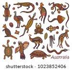 animals of australia. sketches...   Shutterstock .eps vector #1023852406