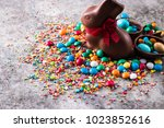 delicious chocolate easter eggs ... | Shutterstock . vector #1023852616